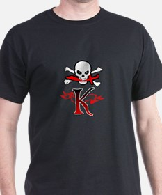 Jolly Roger K Initial Monogram T-Shirt