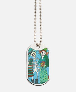 Day of the Dead Wedding Couple Dog Tags