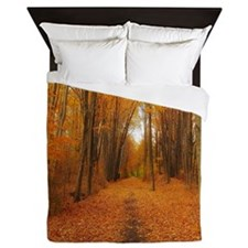 Golden Autumn Trail Queen Duvet
