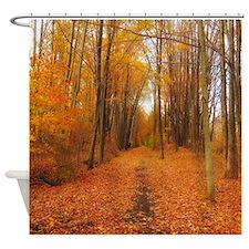 Golden Autumn Trail Shower Curtain