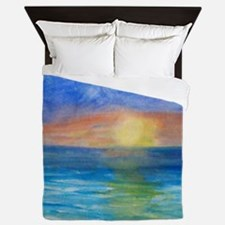 Ocean beach sunset Queen Duvet