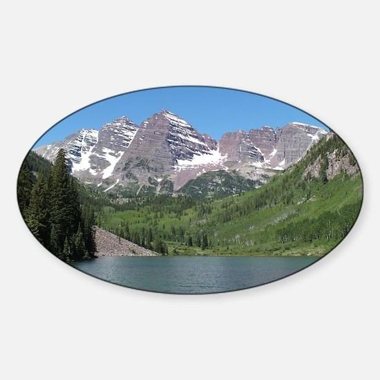 Maroon Bells Aspen Colorado Photo N Sticker (Oval)