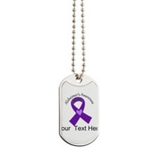 Personalized Alzheimers Ribbon Dog Tags