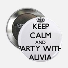 """Keep Calm and Party with Alivia 2.25"""" Button"""