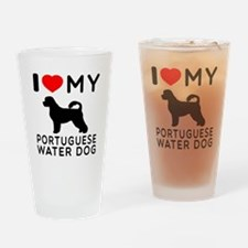 I Love My Dog Portuguese Water Dog Drinking Glass