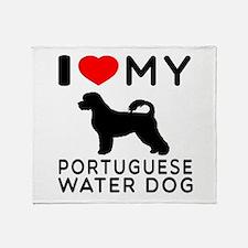 I Love My Dog Portuguese Water Dog Throw Blanket