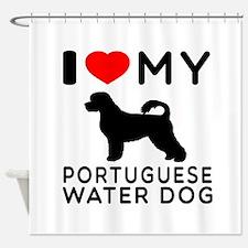 I Love My Dog Portuguese Water Dog Shower Curtain