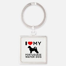 I Love My Dog Portuguese Water Dog Square Keychain