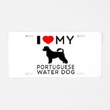 I Love My Dog Portuguese Water Dog Aluminum Licens