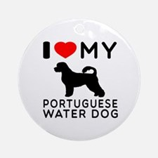 I Love My Dog Portuguese Water Dog Ornament (Round