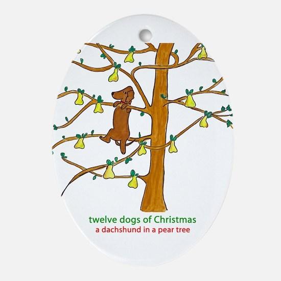 A Dachshund in a Pear Tree Ornament (Oval)