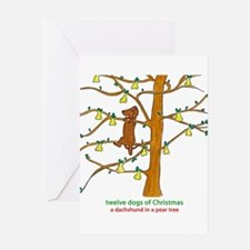 A Dachshund in a Pear Tree Greeting Cards