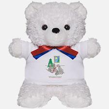 Four Weimaraners Wrapping Teddy Bear