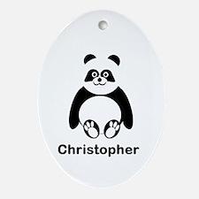 Personalized Panda Bear Ornament (Oval)