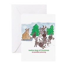 Six Poodles Prancing Greeting Cards (Pk of 10)