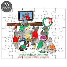 Eight Scotties Stuffing Stockings Puzzle