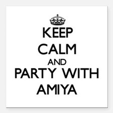 Keep Calm and Party with Amiya Square Car Magnet 3