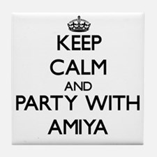 Keep Calm and Party with Amiya Tile Coaster