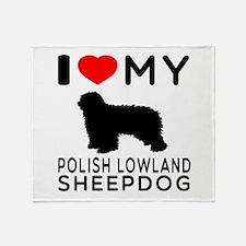 I Love My Dog Polish Lowland Sheep Dog Throw Blank