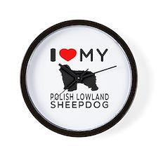 I Love My Dog Polish Lowland Sheep Dog Wall Clock