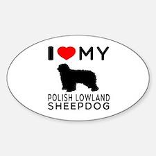 I Love My Dog Polish Lowland Sheep Dog Decal