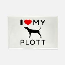 I Love My Dog Plott Rectangle Magnet