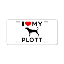 I Love My Dog Plott Aluminum License Plate