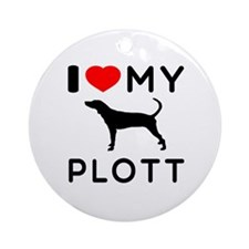 I Love My Dog Plott Ornament (Round)