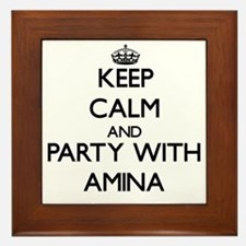 Keep Calm and Party with Amina Framed Tile