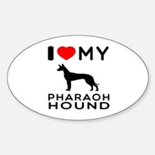 I Love My Pharaoh Hound Sticker (Oval)