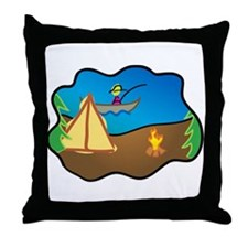 Fishing and Camping Throw Pillow