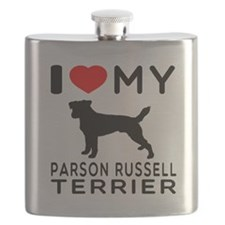 I Love My Parson Russell Terrier Flask