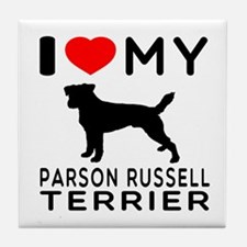 I Love My Parson Russell Terrier Tile Coaster