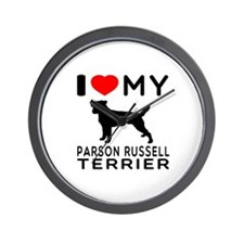 I Love My Parson Russell Terrier Wall Clock
