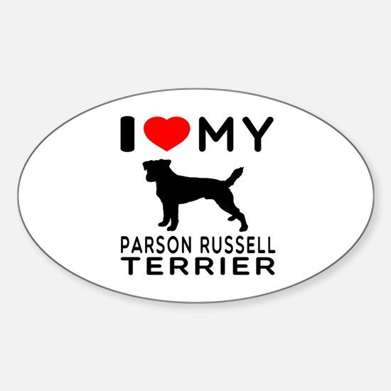 I Love My Parson Russell Terrier Sticker (Oval)