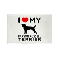 I Love My Parson Russell Terrier Rectangle Magnet