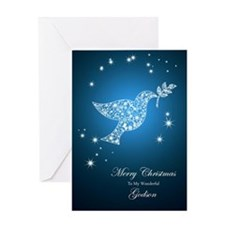 For godson, Dove of peace Christmas card Greeting