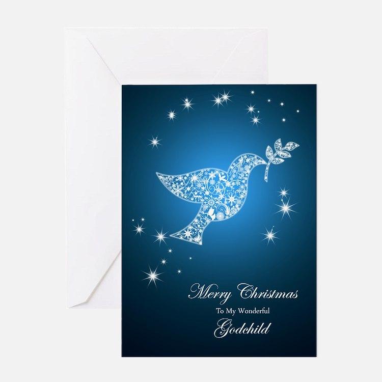 For godchild, Dove of peace Christmas card Greetin