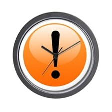 Exclamation Point Button Wall Clock