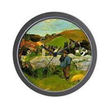 Paul Gauguin painting: Swineherd, Britt Wall Clock