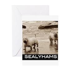 Sealyhams life's a beach Greeting Cards