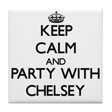 Keep Calm and Party with Chelsey Tile Coaster