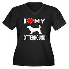 I Love My Otterhound Women's Plus Size V-Neck Dark