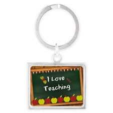 I Love Teaching - written on bl Landscape Keychain