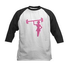 Pink Woman weightlifter Baseball Jersey