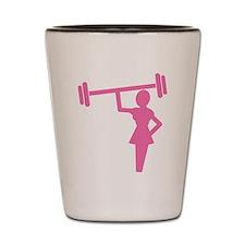 Pink Woman weightlifter Shot Glass