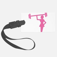 Pink Woman weightlifter Luggage Tag