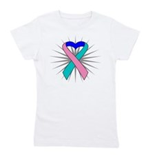 Thyroid Cancer Heart Ribbon Girl's Tee