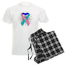 Thyroid Cancer Heart Ribbon Pajamas