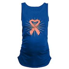 Uterine Cancer Heart Ribbon Maternity Tank Top
